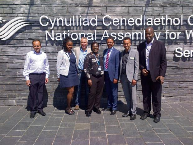 MEETING: The NBPA cabinet and AM Vaughan Gething outside the Senedd