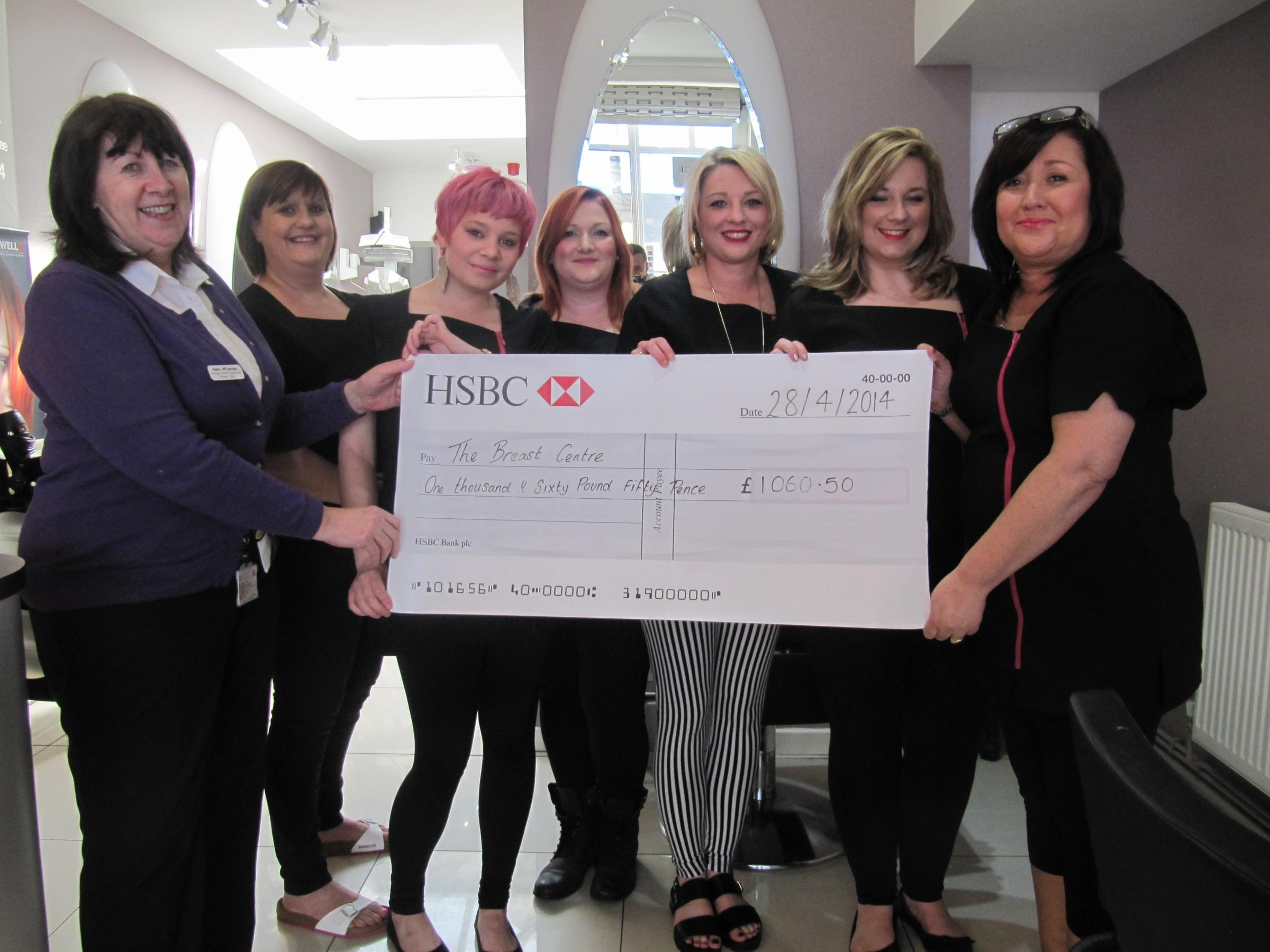 DONATION: Helen McGarridge (far left) and Sharon Brito (far right) with staff at Hello Gorgeous (6327462)