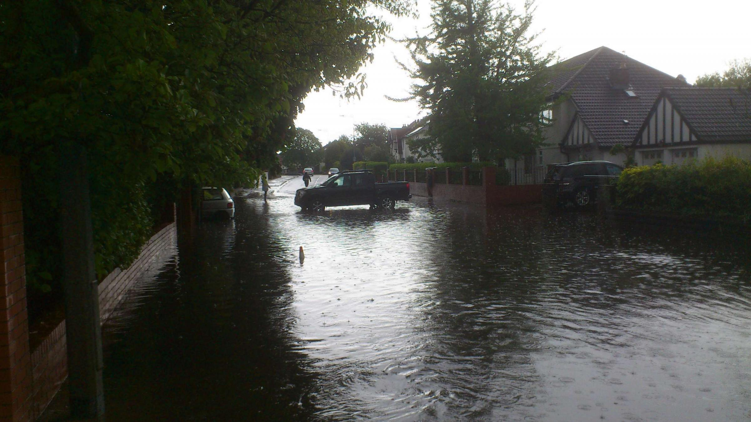Clean-up operation begins after flash flooding in Penarth