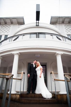 WEDDING BELLS: Lee Williams and Kristy Mellin were the first couple to get married at the Penarth Pier Pavilion