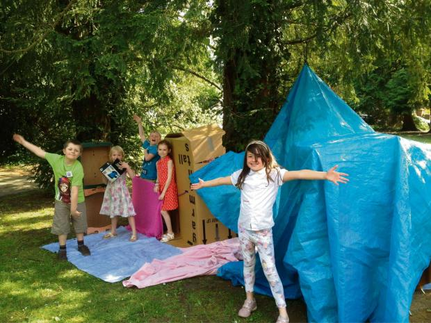 Penarth Times: ACTIVITIES: All Saints Messy Church attendees enjoyed making dens in Victoria Square