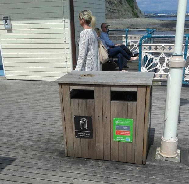 Penarth Times: NO EXCUSE: The recycling bin situated on Penarth Pier