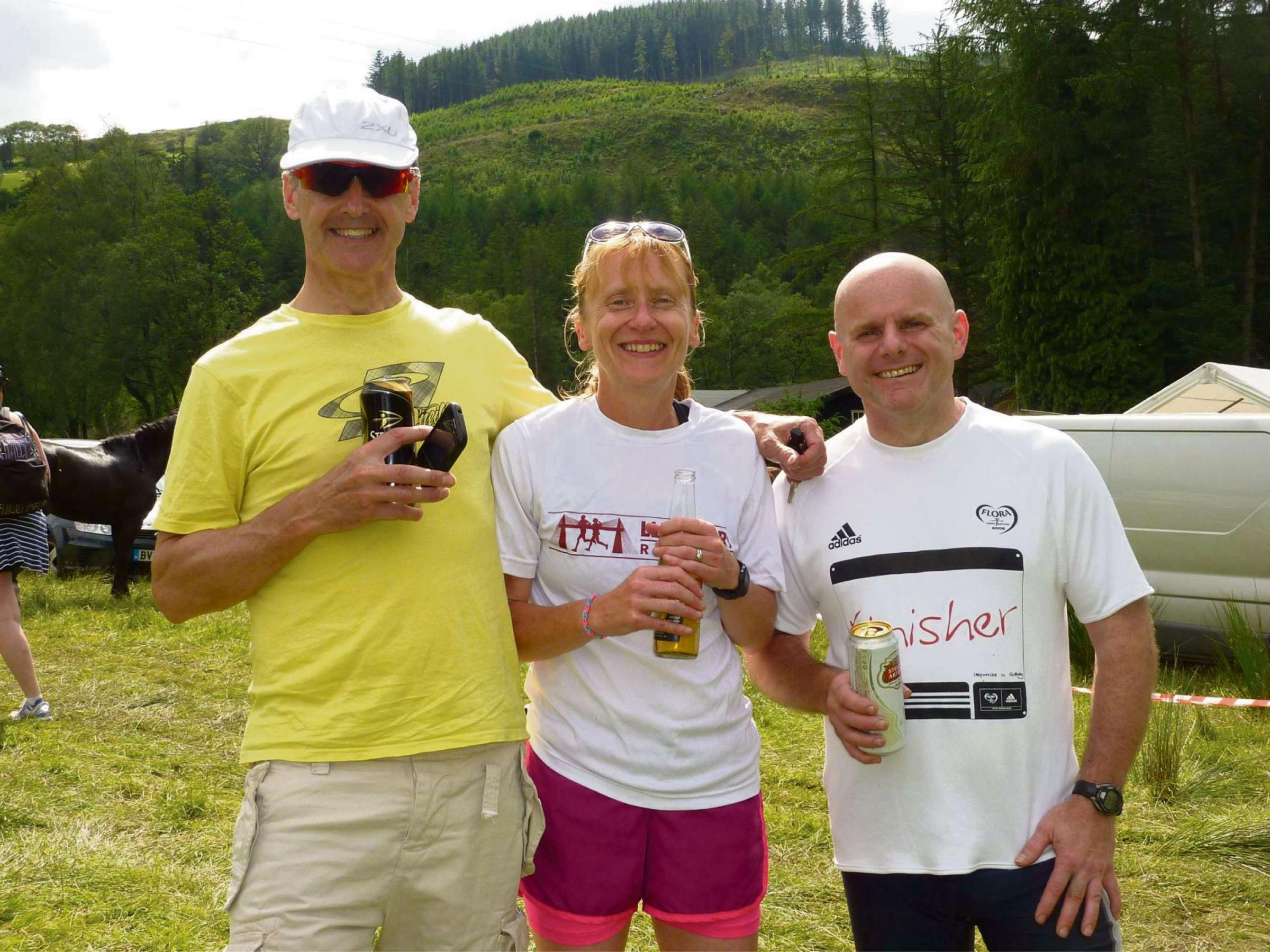 TEAM EFFORT: Robert Wilson, Cath Tailby and Andrew Palmer after the Man v Horse race