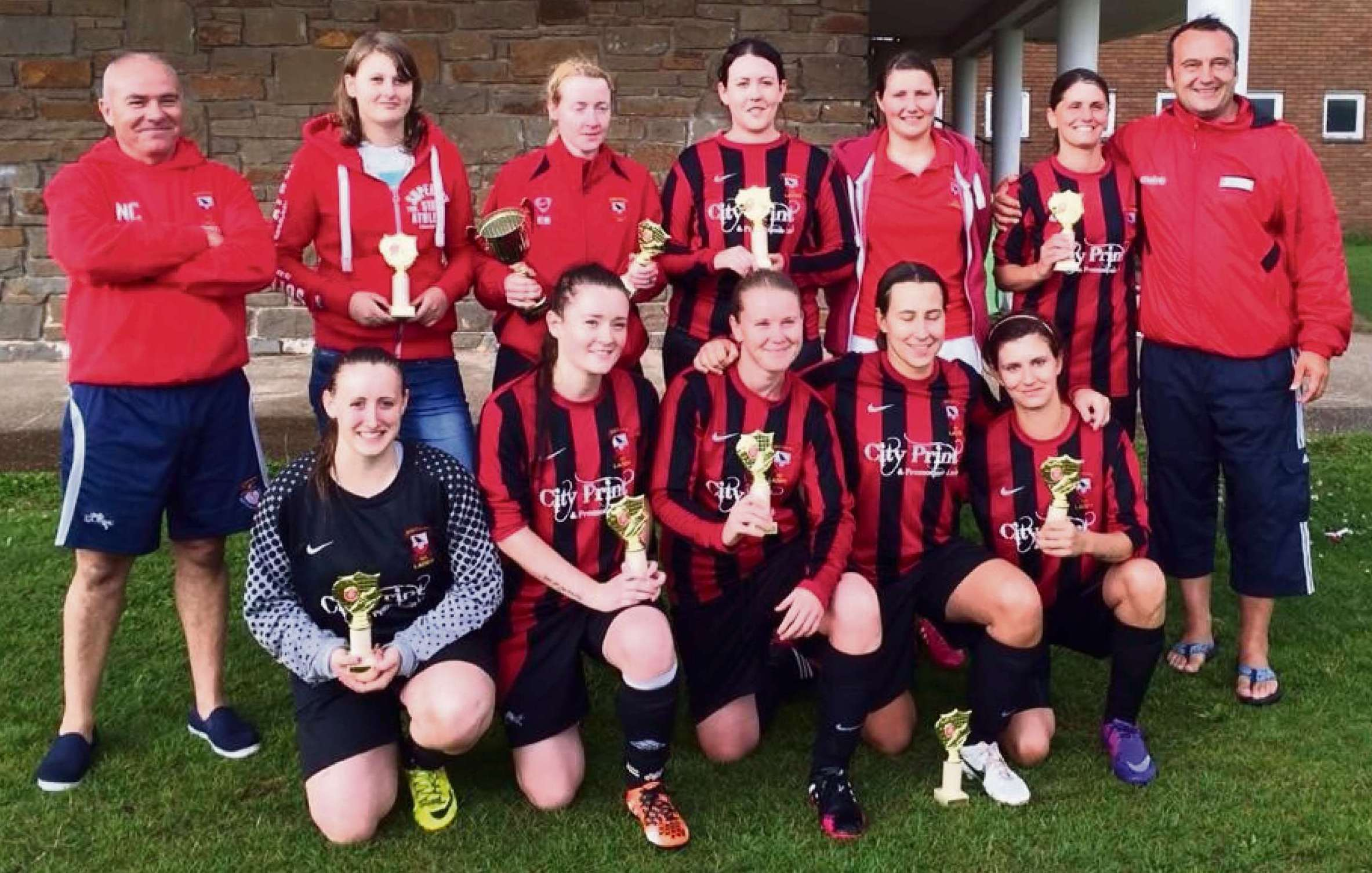 SUMMER SUCCESS: Dinas Powys women's soccer side - winners of the South Wales Ladies FC summer tournament.