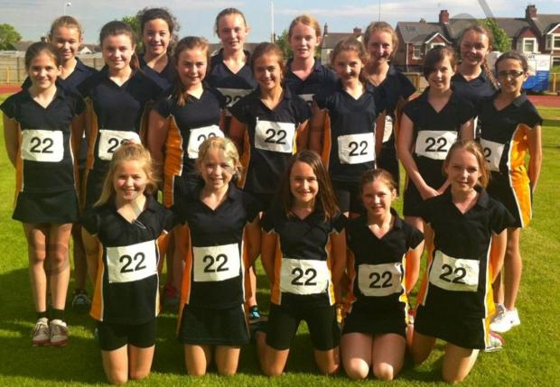 COUNTY SQUAD: Stanwell School's Year 7 girls' athletics squad produced a series of promising performances in the county ch