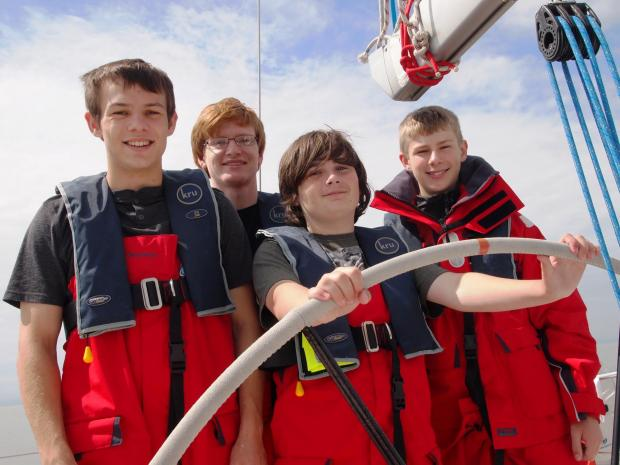 Penarth Times: UNDER SAIL: Members of Penarth Scouts Young Leaders unit aboard the 40 foot 'X Beat' in the Bristol Channel