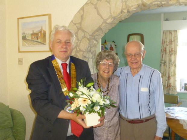 WEDDING ANNIVERSARY: Dinas Powys Councillor Chris Franks presented Thomas and