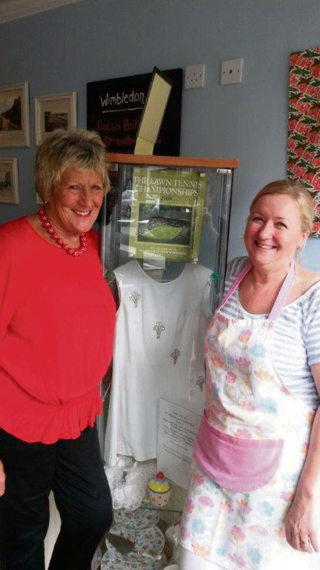SMASH HIT: (right) Christine Teasdale, proprietor of the Victoria Tea Rooms, with former Wimbledon star Elizabeth James and her dress on display
