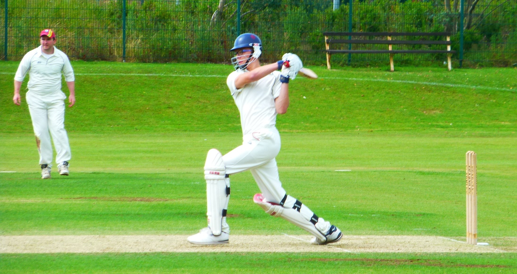 BATSMAN'S DEBUT: Dinas Powys Cricket Club 2nd XI debutant Jack Fleckney tries to up the scoring rate against Malpas.