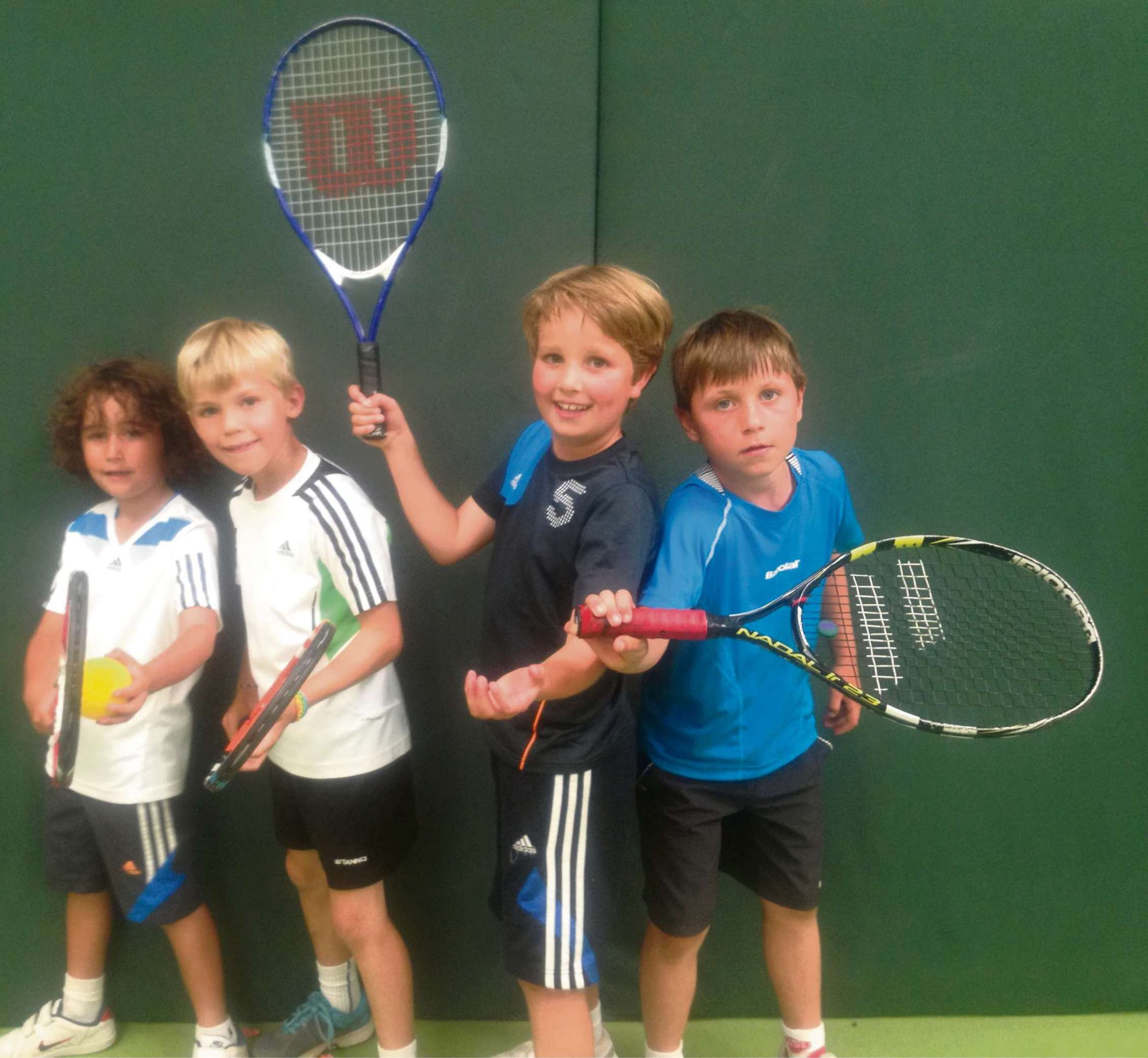 WINNING TEAM: The boys' team from Penarth's Evenlode Primary School - Harry Davies, Daniel Ingram, Sebastian Griffiths and Sebb Forton - which won the mini reds section of a tennis tournament at the David Lloyd Centre, Cardiff.