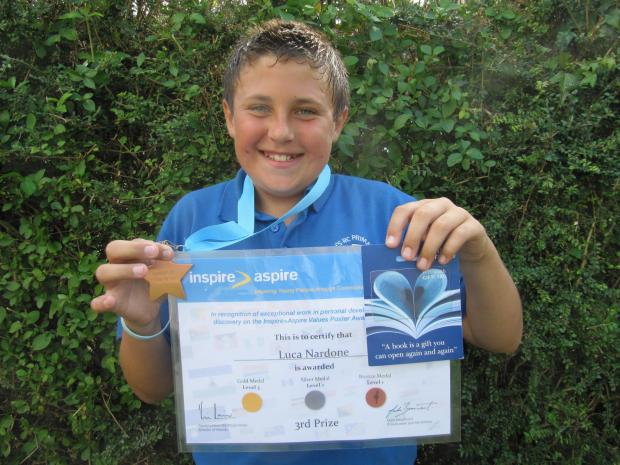 Penarth Times: WINNER: Luca Nordine was awarded a bronze medal, a certificate and a £25 WH Smith gift voucher (8103990)