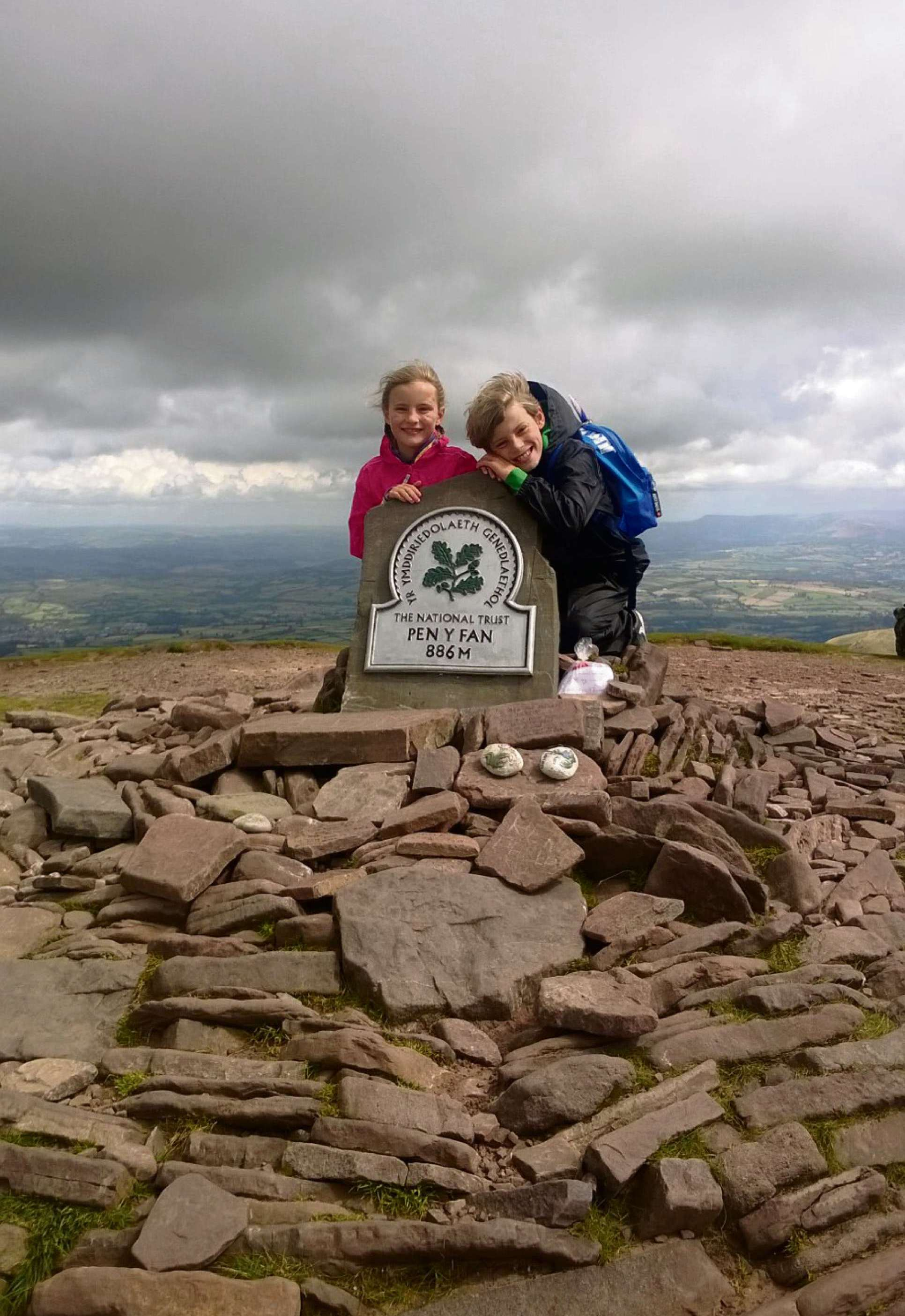 YOUNG MOUNTAIN CLIMBERS: Alfie and Annie Framer scaled Pen y Fan, south Wales' highest peak, earlier this mo