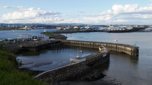 SEARCH: A man was seen entering the water of the Outer Harbour of Cardiff Bay Barrage on Thursday night
