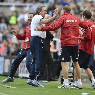 Neil Warnock celebrates his side's dramatic equaliser