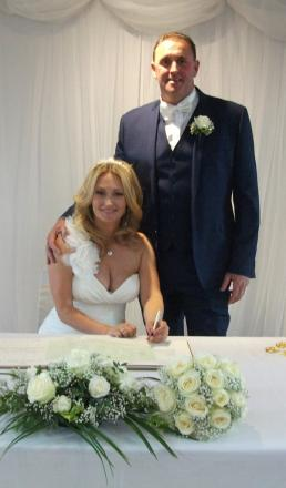 HAPPY COUPLE: Jonathan Denning and Lisa Barrett were married by Jonathan's sister Gennie
