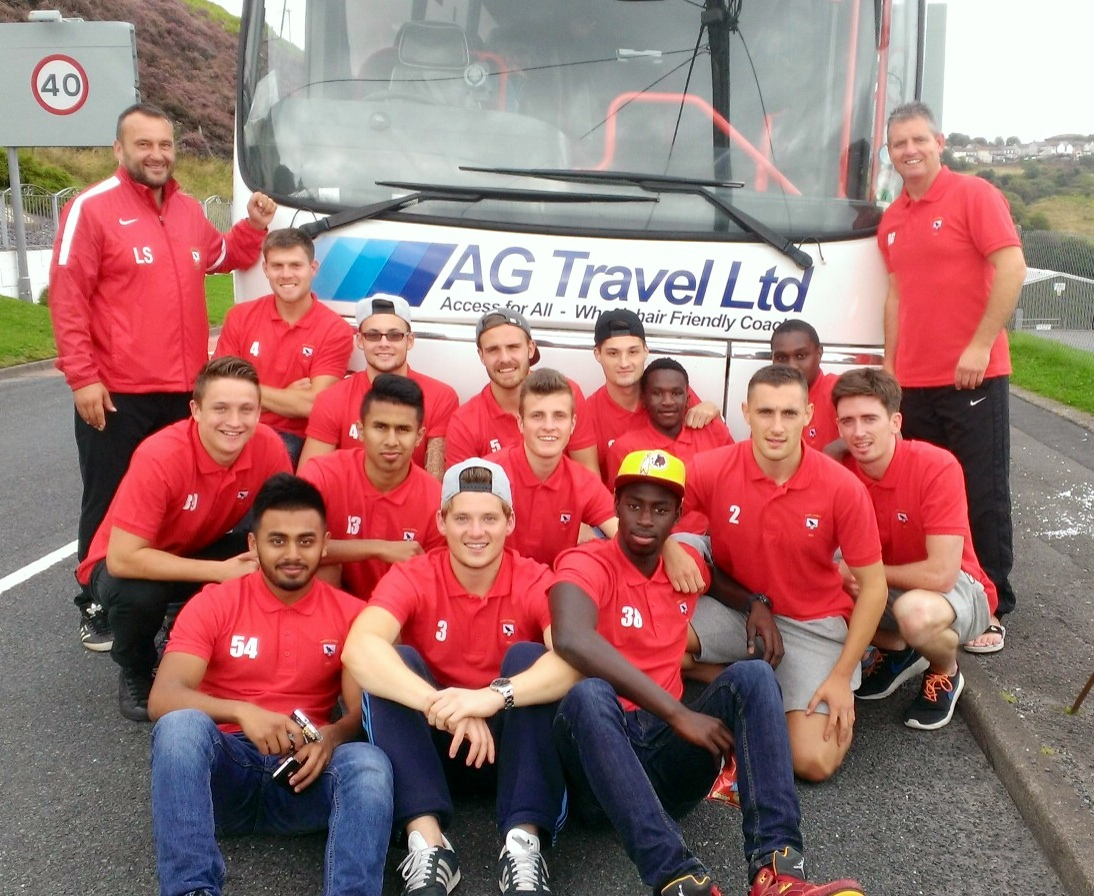 DINAS POWYS FC: Team photo with AG travel LTD providing the coach for Saturday's match