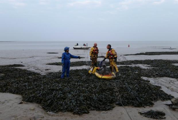 RESCUE: Penarth and Barry Coastguard worked together during a mud rescue on Wednesday night