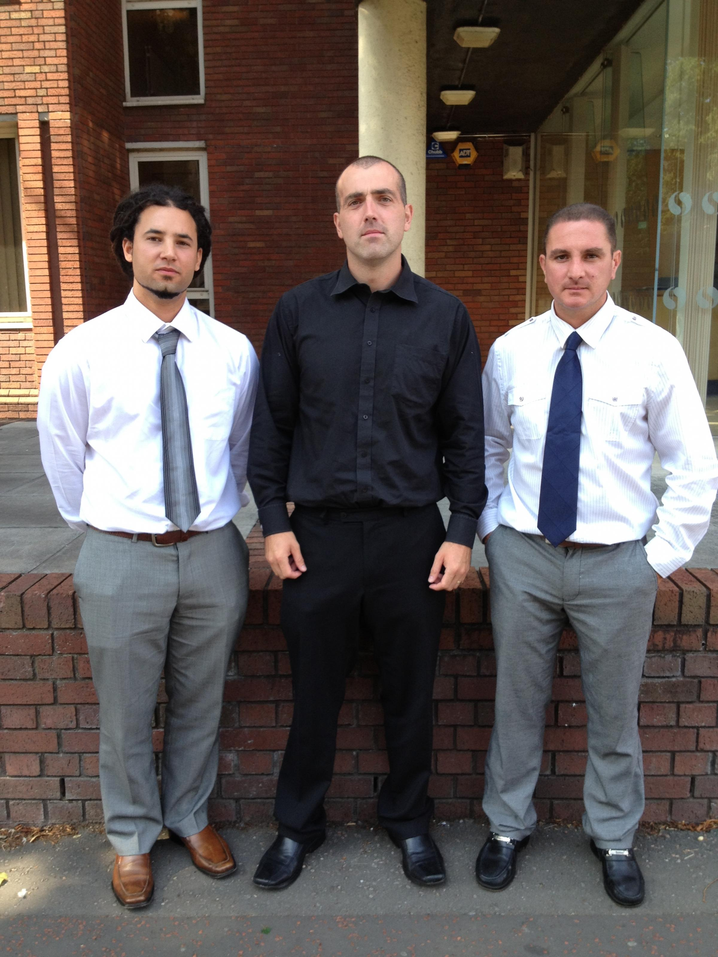 TRIBUNAL: (from left) Nabeel Rahman, Scott Roberts and Andrew Mifsud outside the employment tribunal in Cardiff (10721013)