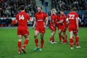 VICTORY: Jamie Roberts and George North celebrate at the final whistle in Paris