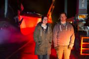 USW students Charlie Willing and Ollie Jenni stand next to their creation to mark Penarth Docks' 150th anniversary