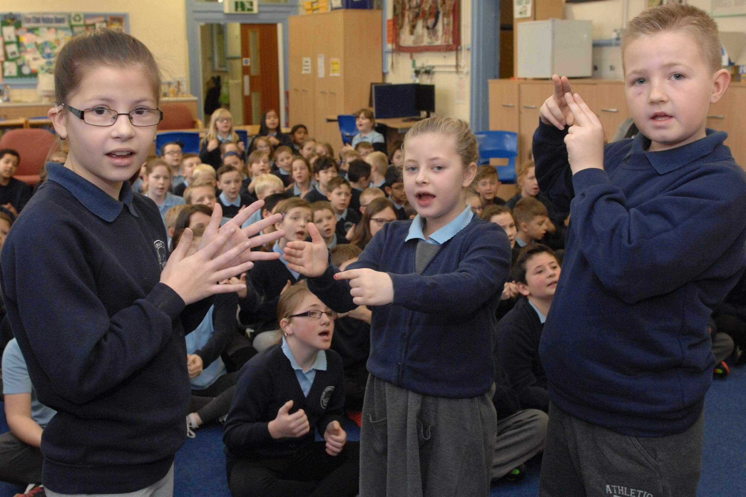 Pupils from Cogan Primary School have been helping to raise money and awareness for deaf children and adults through sign2sing (Picture: John O'Beirne)