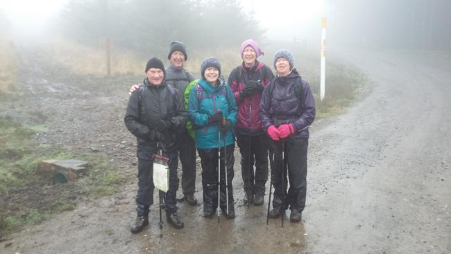 Ramblers during the Ogwr Fawr walk. They go wet but still kept smiling