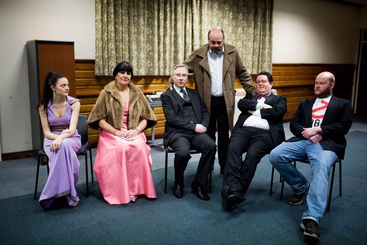 Some of the cast of Penarth Operatic and Dramatic Society's production of Rehearsal for Murder