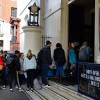 Penarth Times: People queue outside Theatre Royal Drury Lane in London as auditions opened for the musical 42nd Street (John Stillwell/PA)