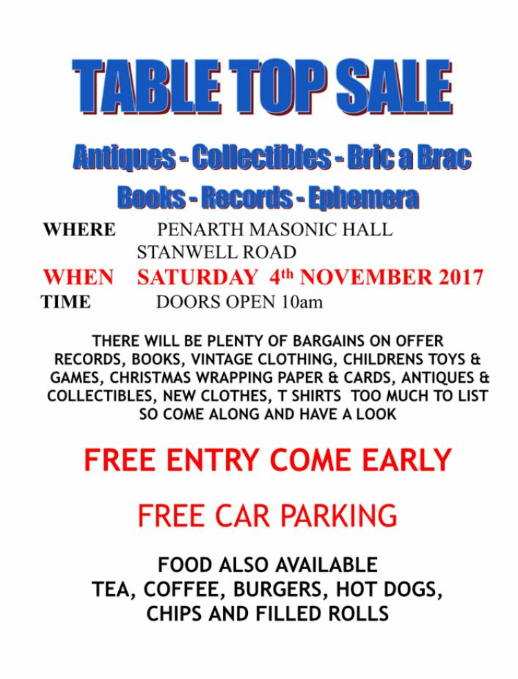 The event takes place at the Masonic Hall on Stanwell Road