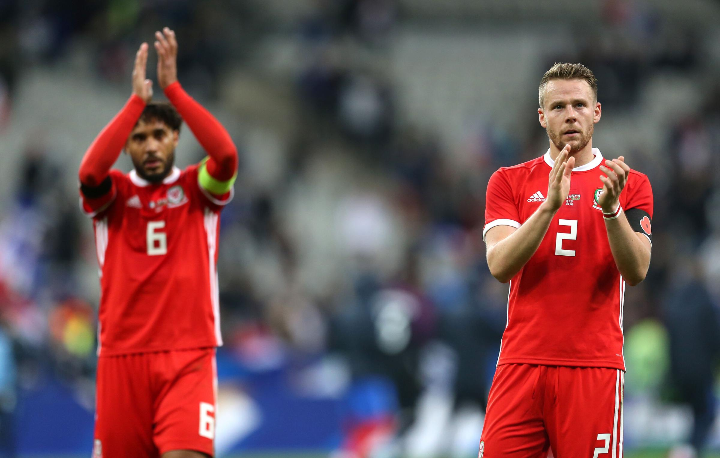 SKIPPER: Chris Gunter, right, will take the armband from regular Wales captain Ashley Williams, left, for tomorrow's friendly clash with Panama