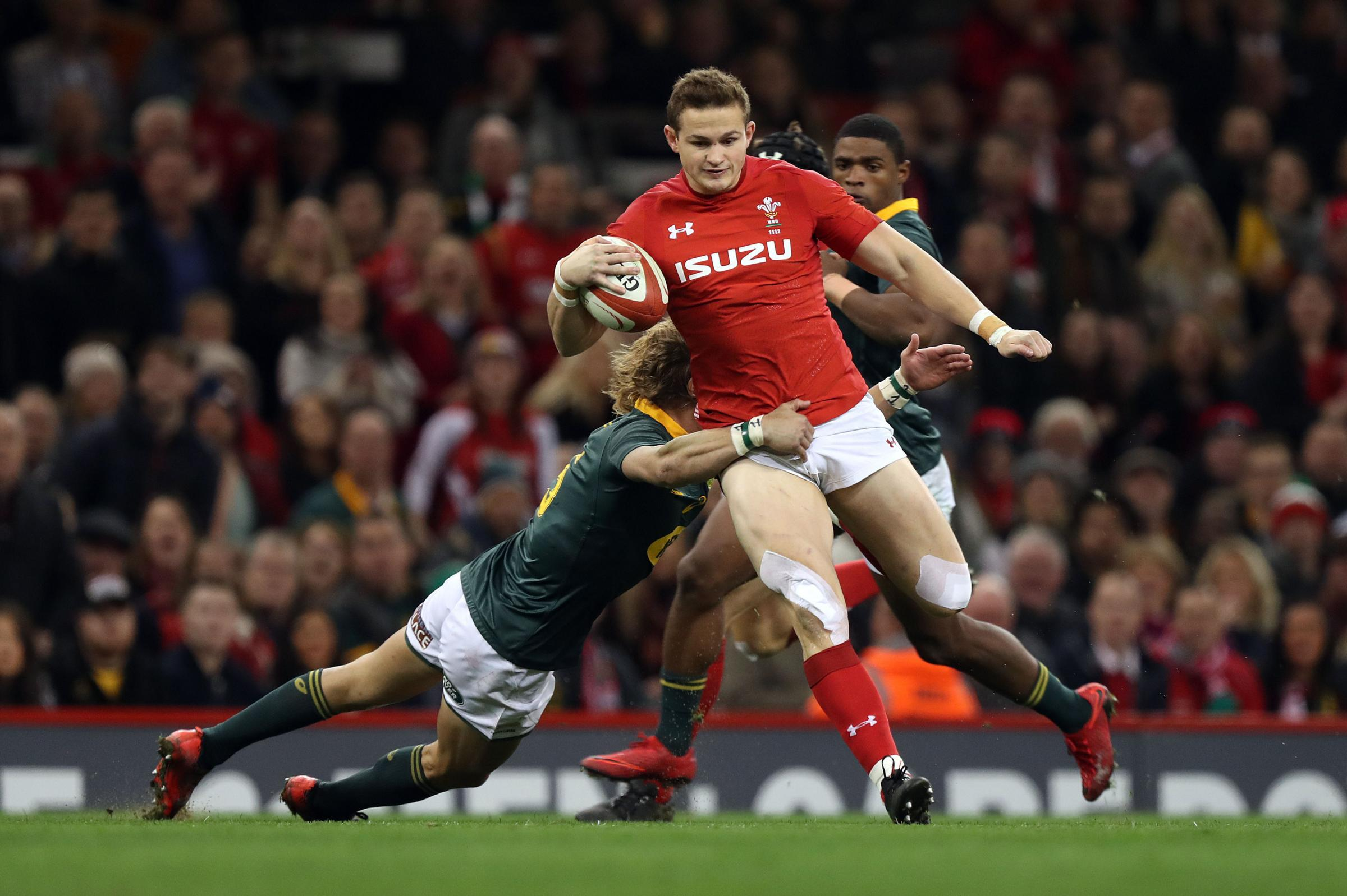ON THE RUN: Hallam Amos is chasing a place in the Wales XV