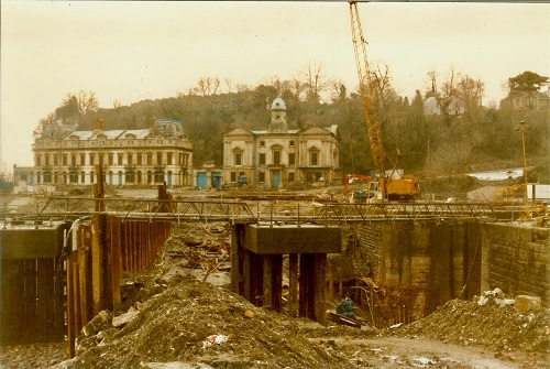 Penarth's Custom House during the Marina construction in 1987