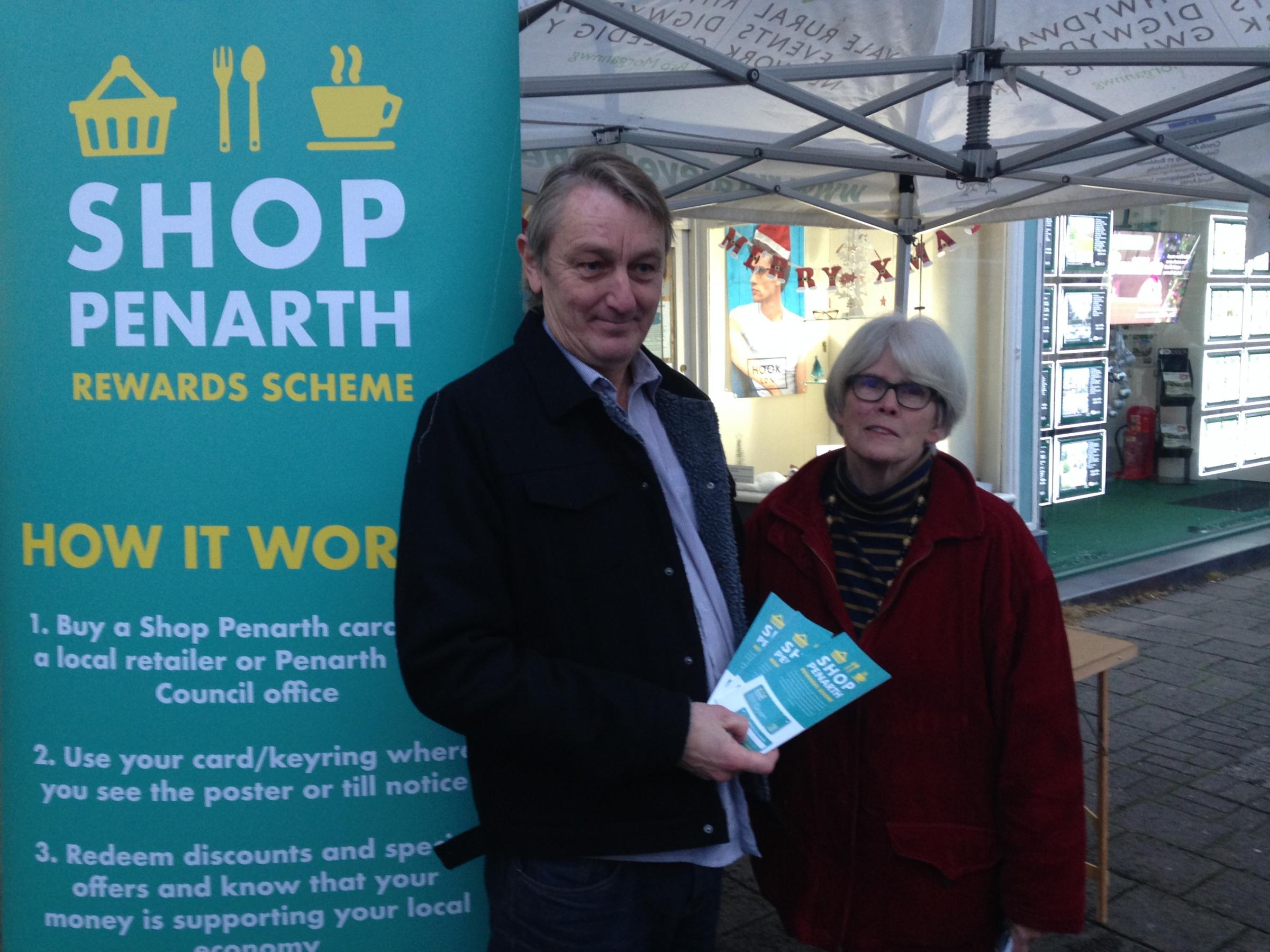 Anthony Slaughter and Tricia Griffiths at the Shop Penarth stall at this year's Christmas lights switch on