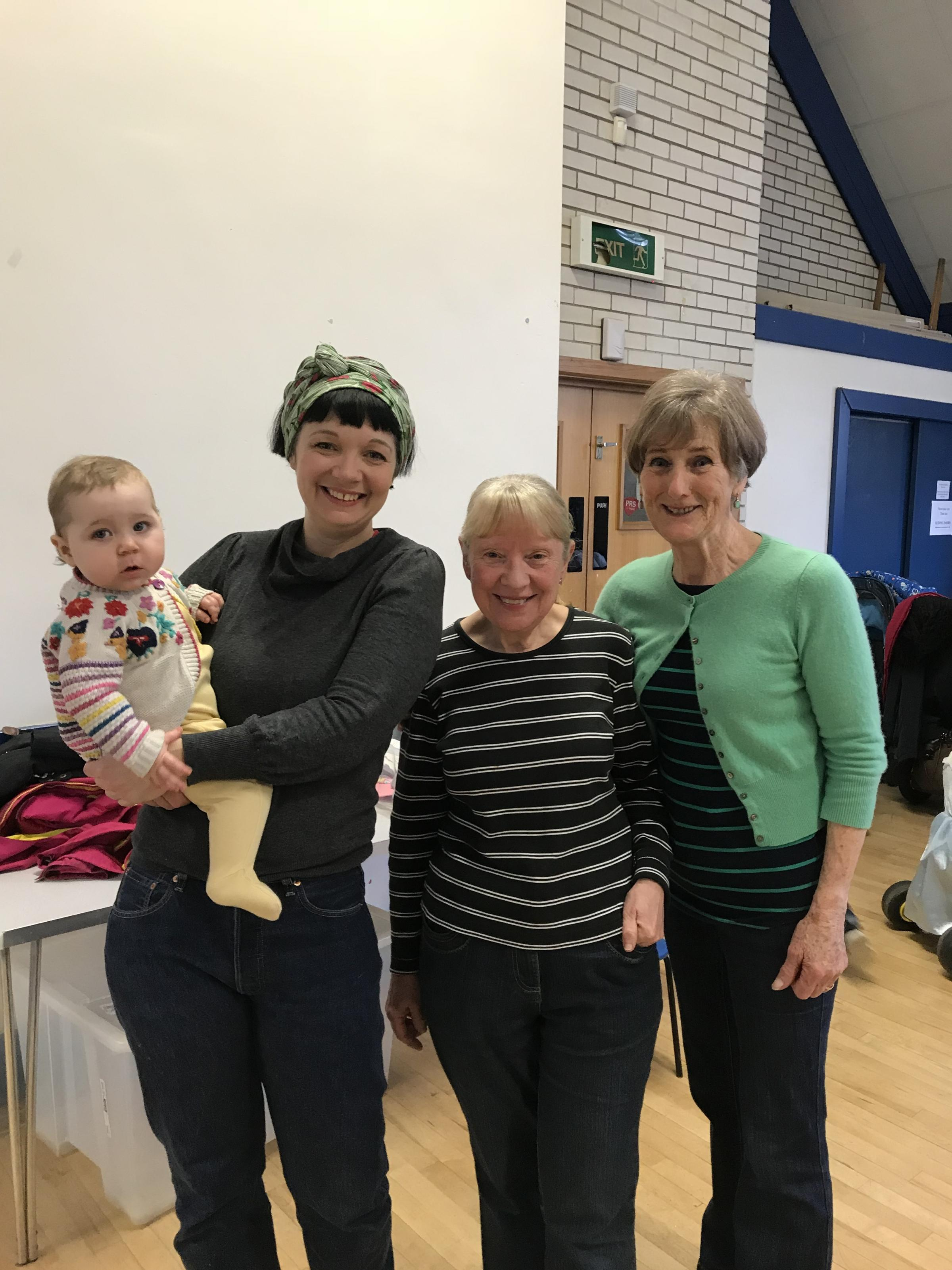 From right to left: Pat Braey, Marion Rowlands, Shelley Barrett and her baby Maude
