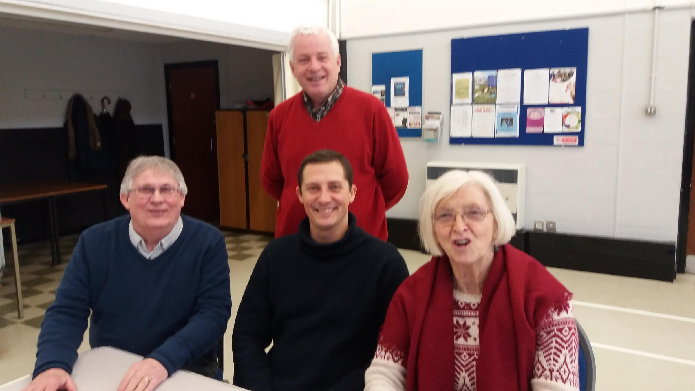 Artist in Residence Tom Goddard with community Councillors John Fanshaw, Val Hartrey and Chris Franks