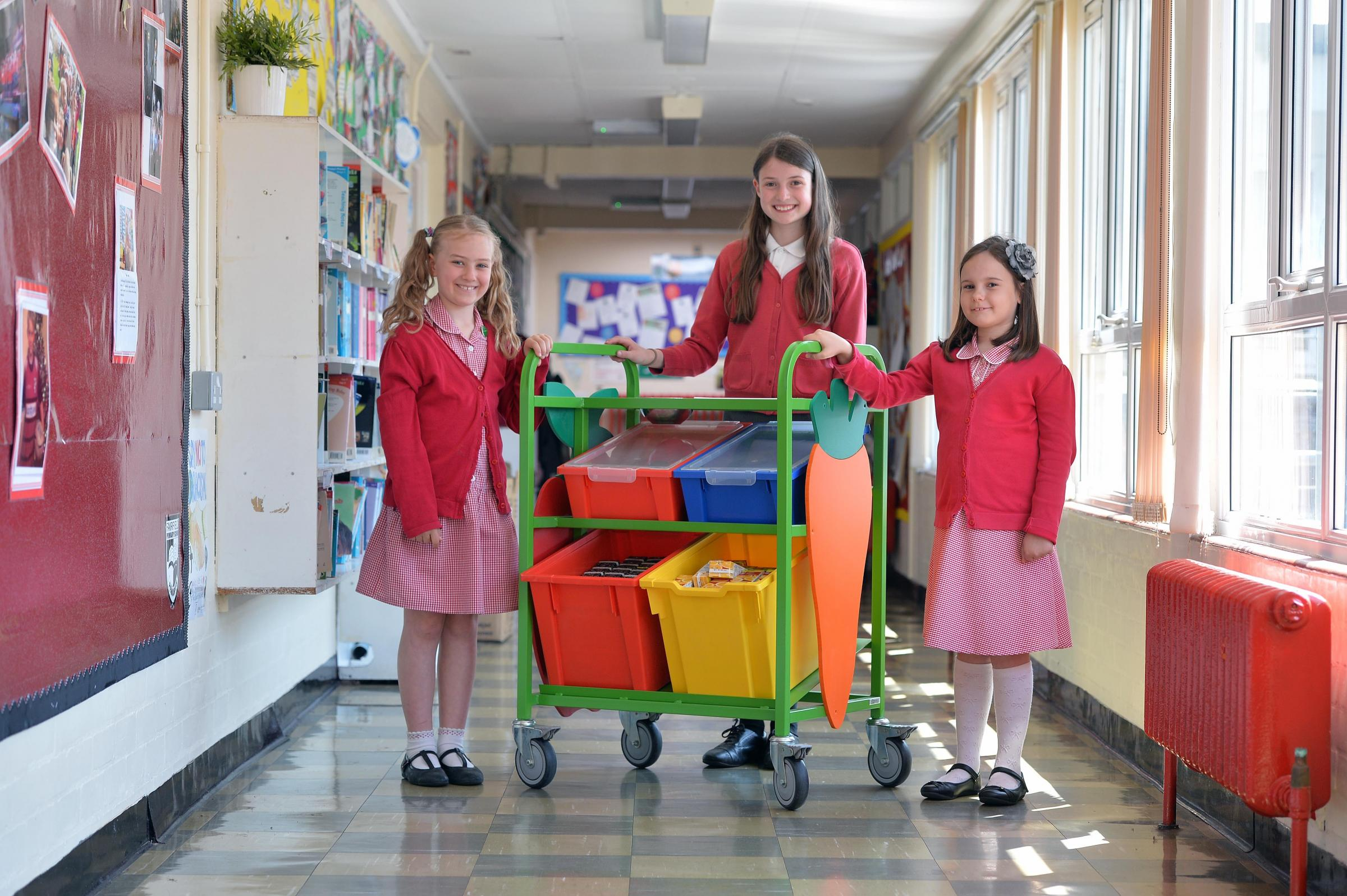 Fairfield Primary pupils Libby Herbert, Bethan Drake and Millie Hughes
