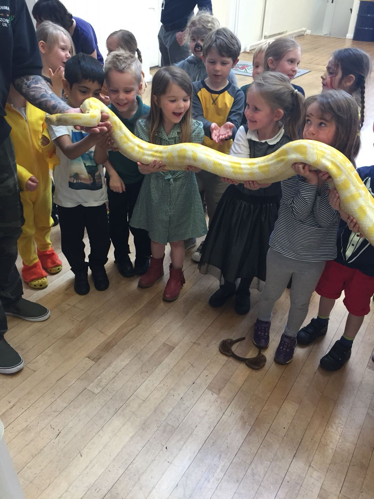 Reception children with a snake