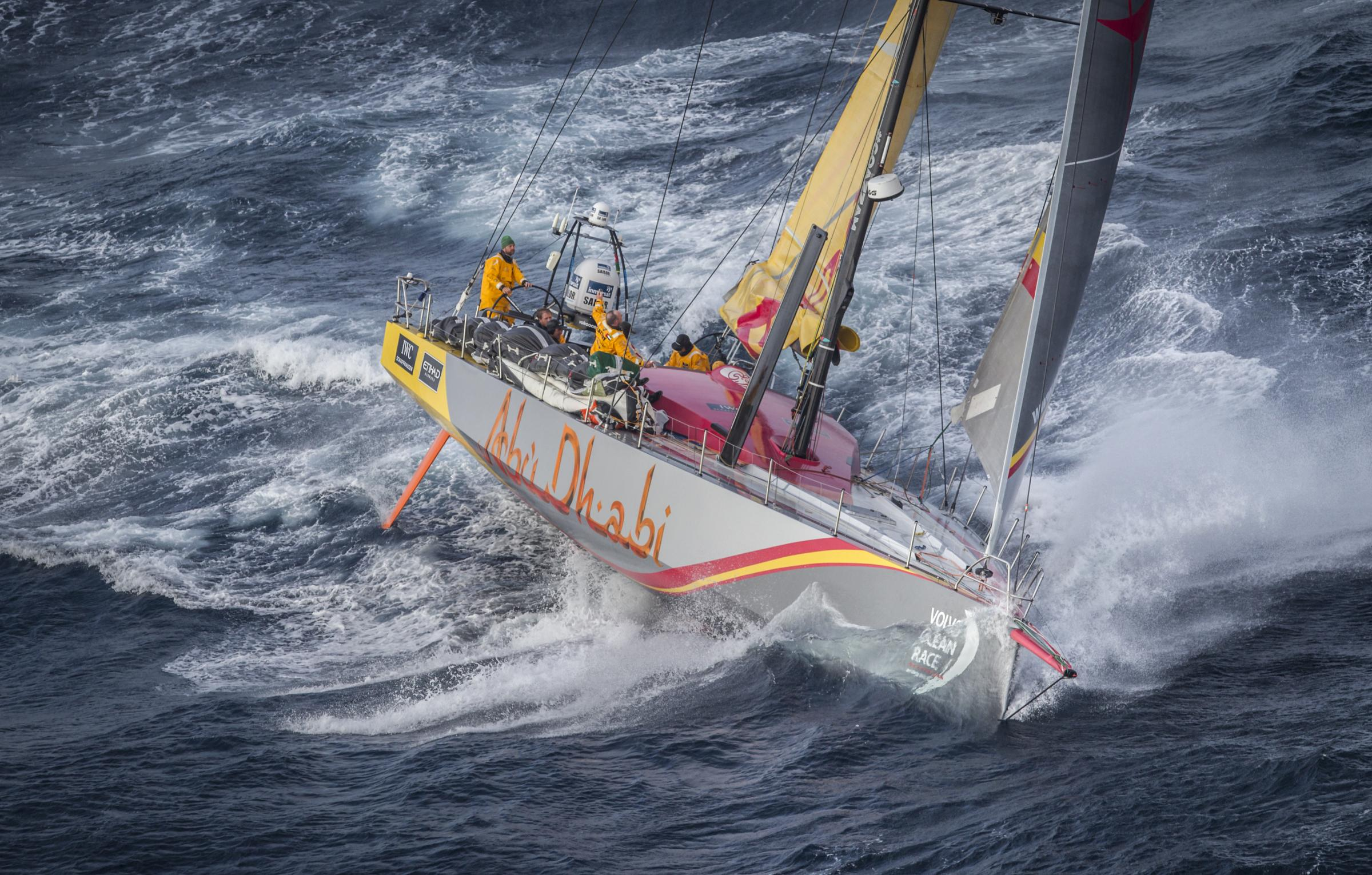 June 09, 2015. Abu Dhabi Ocean Racing passing by Costa da Morte - Coast of Death - in Spanish waters during Leg 8 to Lorient..
