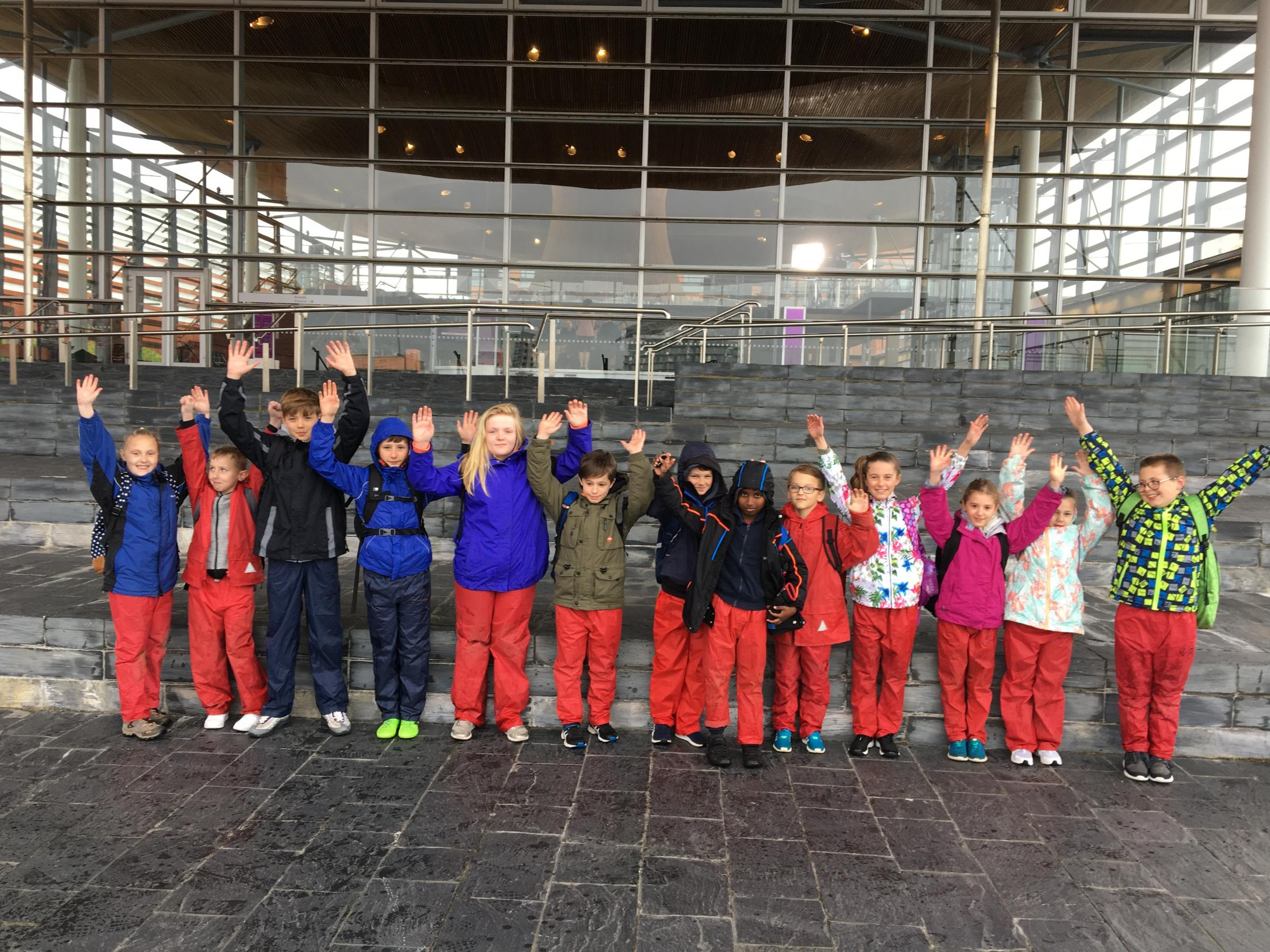 The children walked from the Senedd to St Cadoc's Primary in Cardiff as part of the initiative