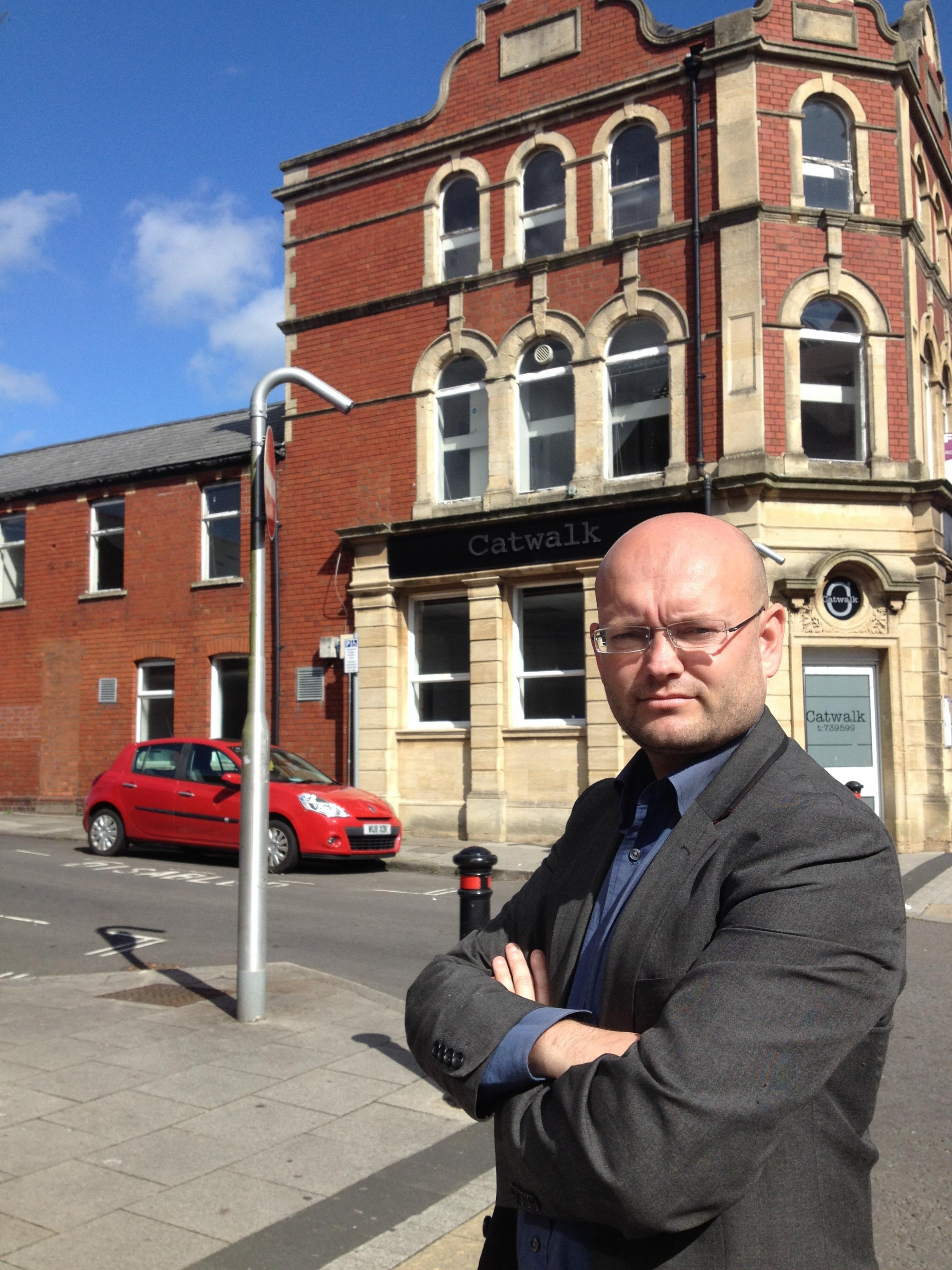 Councillor Ian Johnson in front of 33 Holton Road, the proposed site for 10 town-centre flats in Barry.