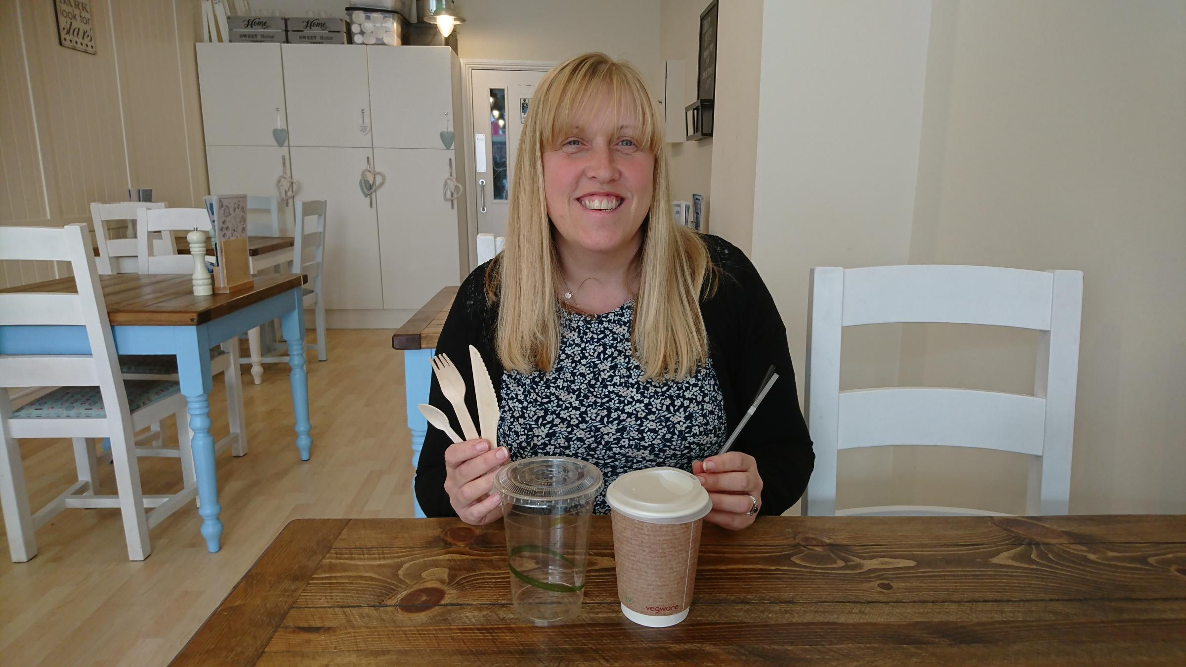 Alison Speirs-Jones with the alternatives to single-use plastics now used at The Crepe Escape cafes in Penarth and Cardiff