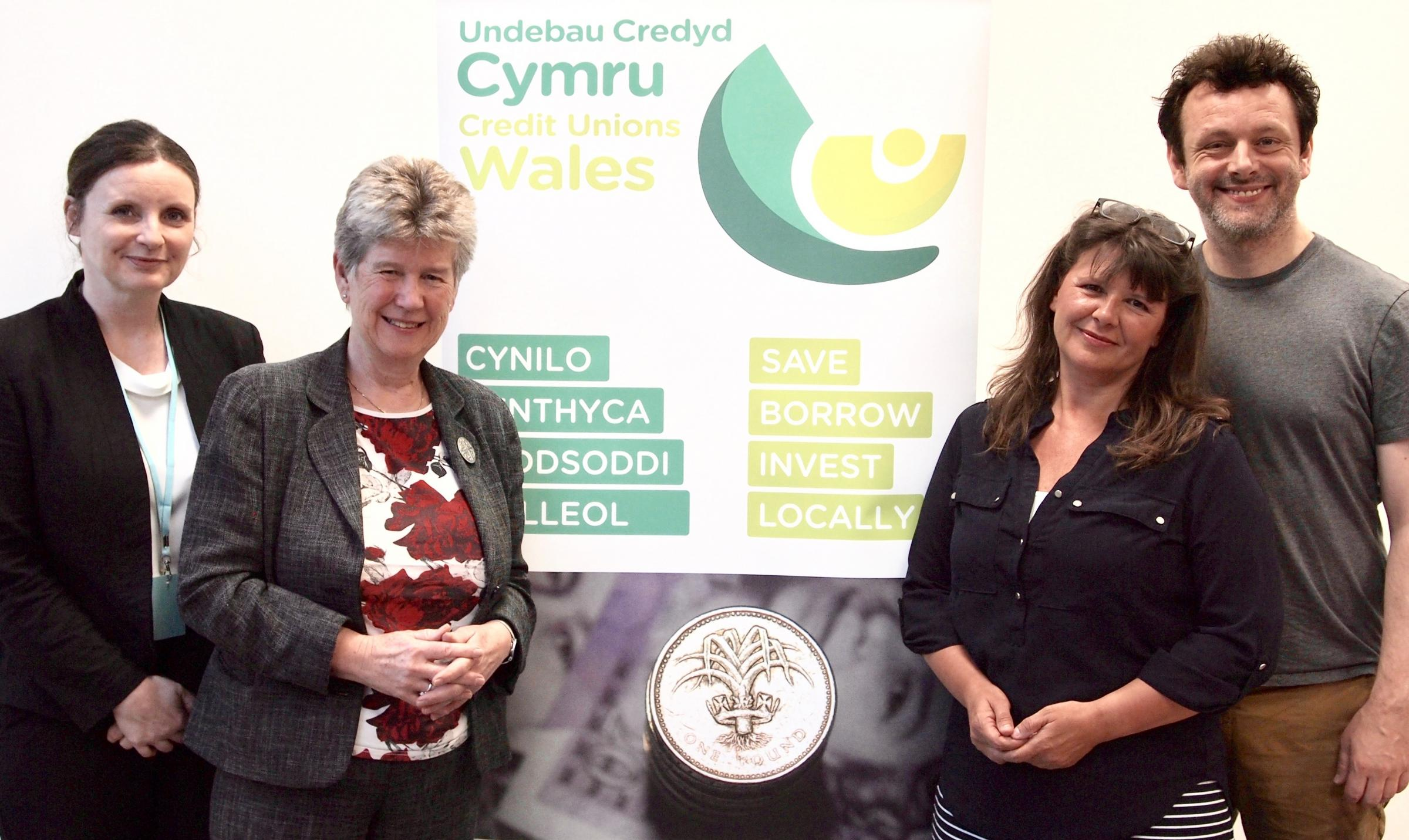 Leanne Herberg, CEO of Cardiff and Vale Credit Union, Jane Hutt AM, Nicola Field manager of Bridgend Lifesavers Credit Union and Michael Sheen