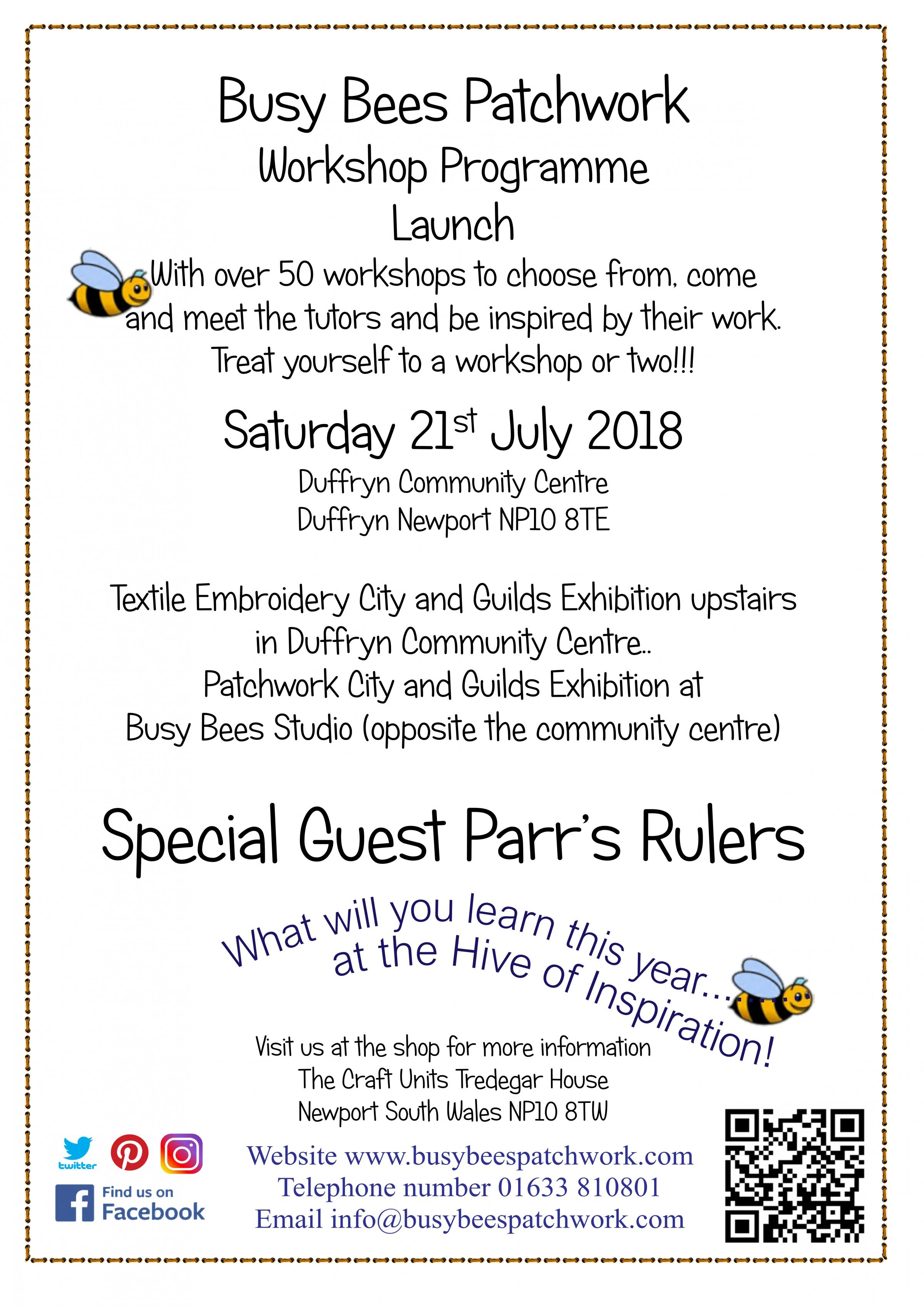 Busy Bees Patchwork Workshop Programme Launch