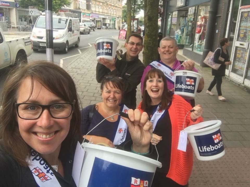 Volunteers from UK charity Chwarae Teg went collecting in the town centre