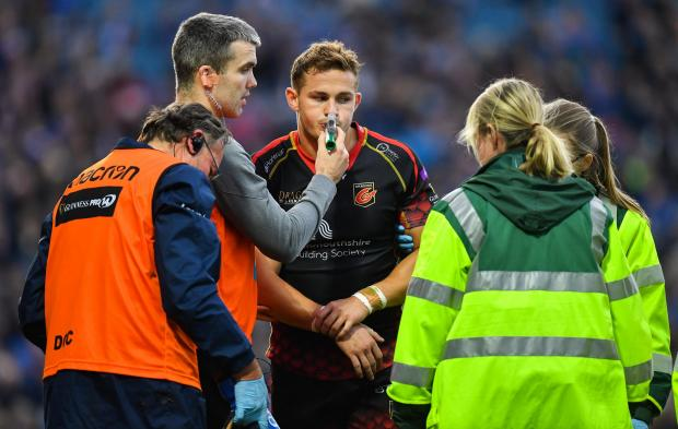 Penarth Times: INJURY BLOW: Hallam Amos suffered a dislocated elbow at Leinster