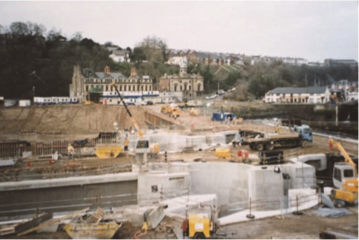 The building of the locks at the Penarth end of Cardiff Bay barrage
