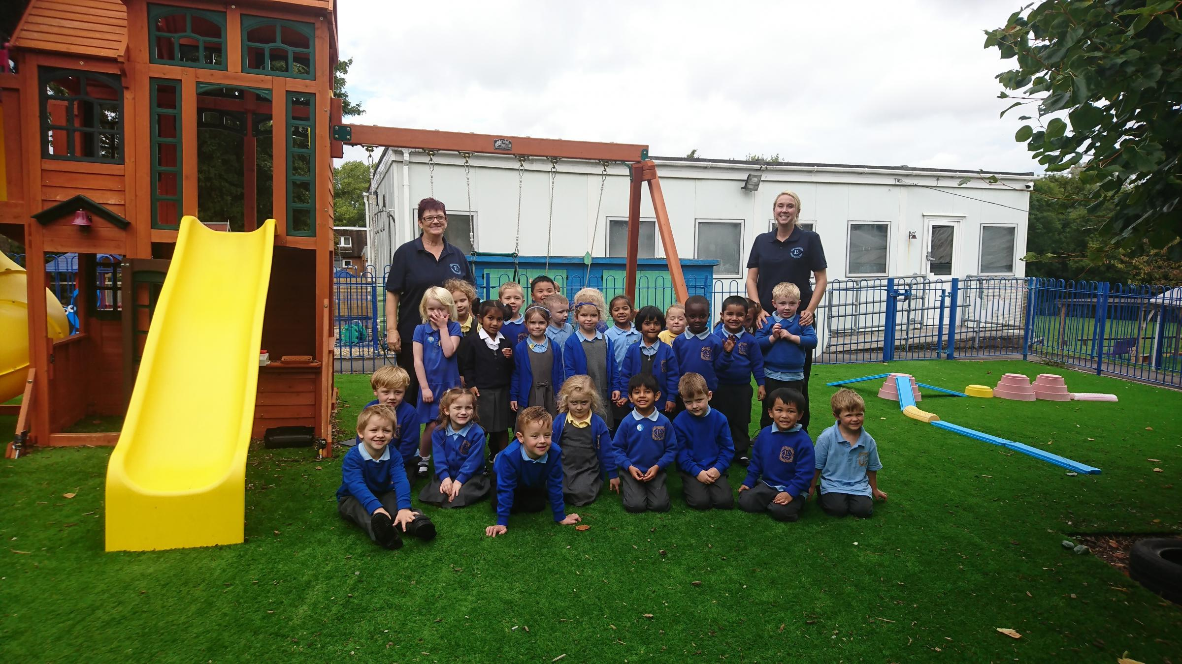 Laura Mullins with her reception class at Llandough Primary School
