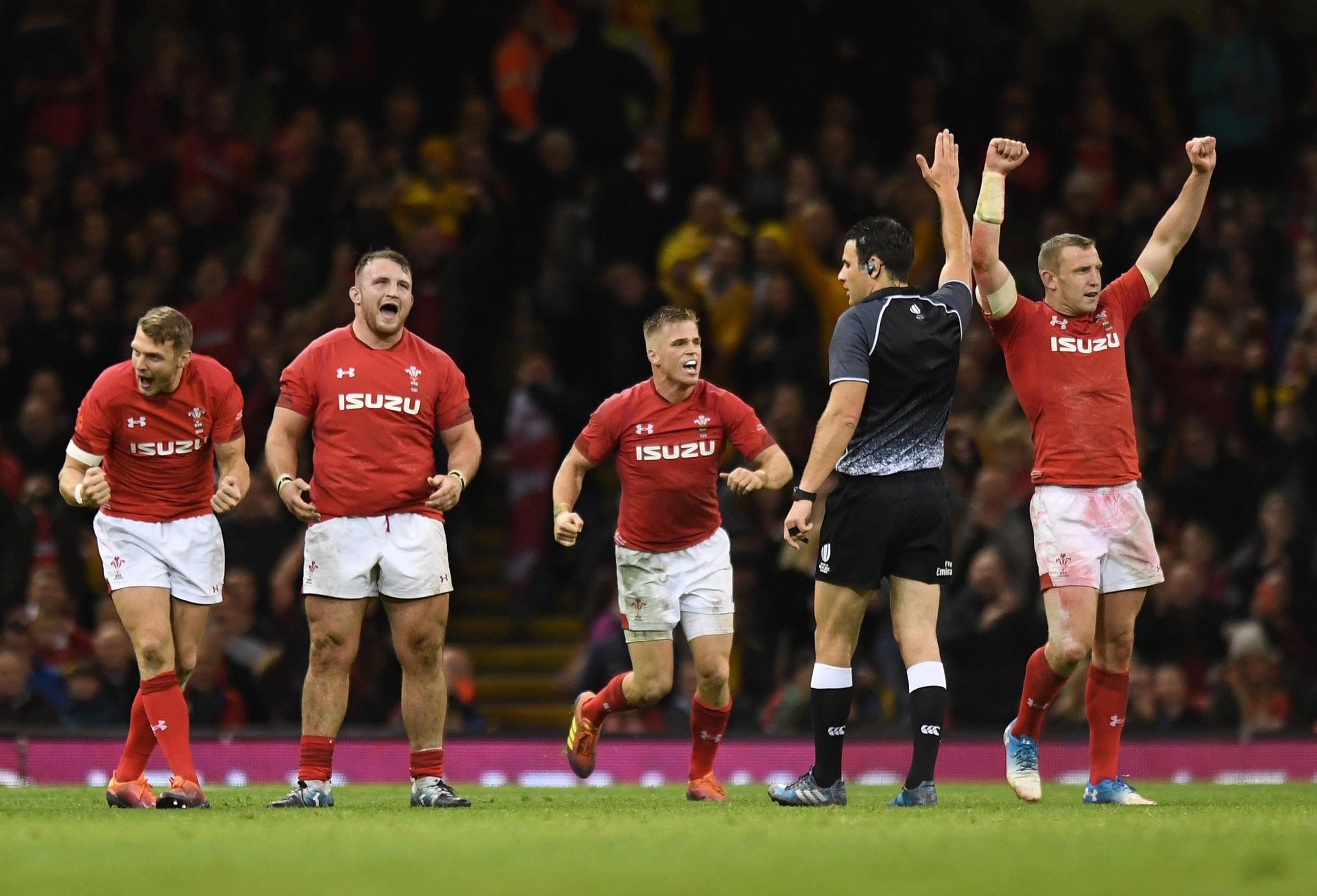 AT LAST: Wales players celebrate their first win over Australia in a decade. Picture: Simon Galloway/PA Wire