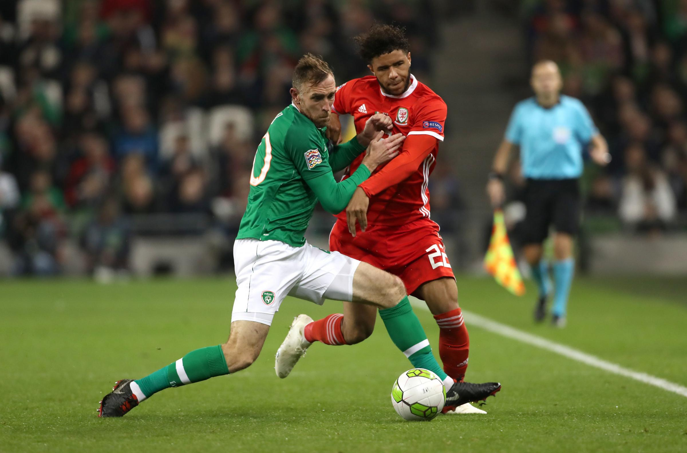 GOOD START: Tyler Roberts, right, in action for Wales in Dublin. Picture: Liam McBurney/PA Wire