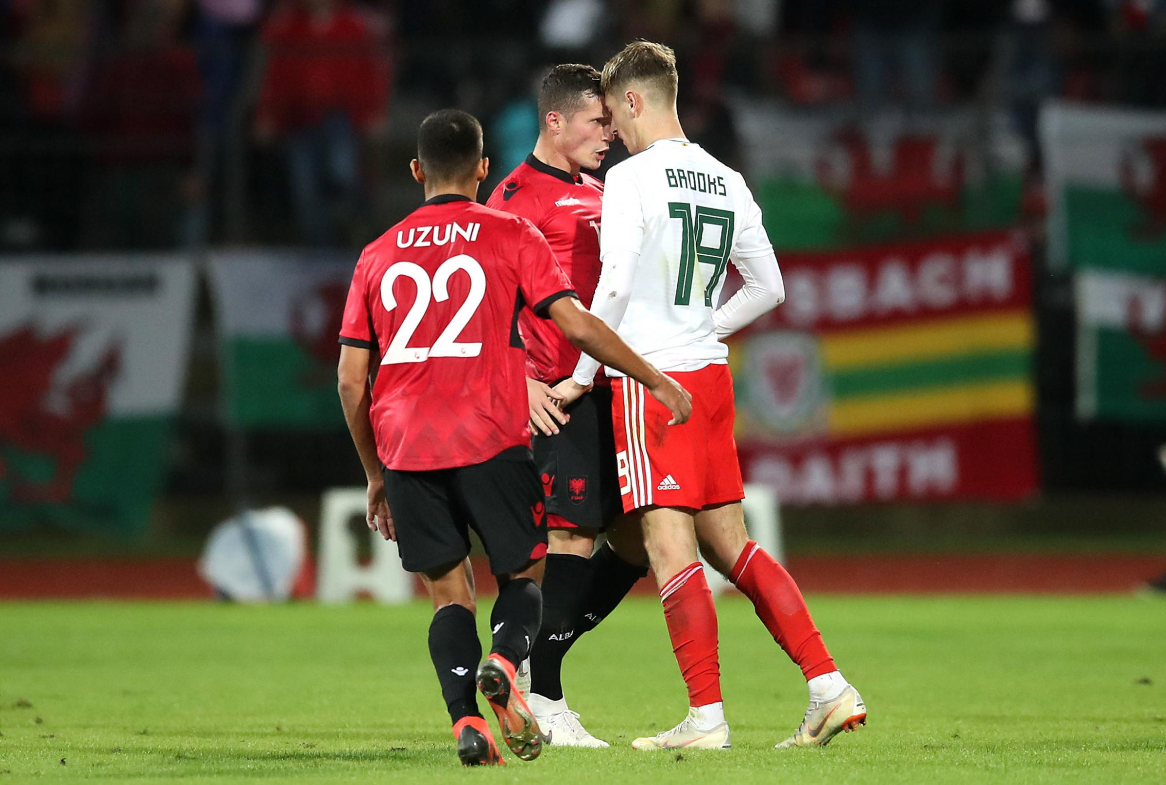 FLASHPOINT: Wales' David Brooks clashes with Albania's Taulant Xhaka